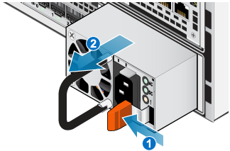 The power supply being removed from the bottom node. The orange handle is pushed in, then the power supply is removed by the handle.