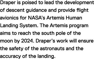 Draper is poised to lead the development of descent guidance and provide flight avionics for NASA's Artemis Human Landing System. The Artemis program aims to reach the south pole of the moon by 2024. Draper's work will ensure the safety of the astronauts and the accuracy of the landing.