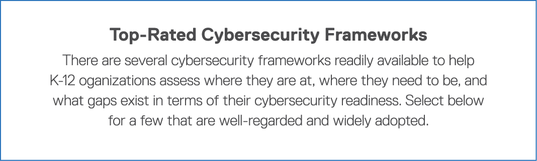 Top-Rated Cybersecurity Frameworks There are several cybersecurity frameworks readily available to help K-12 oganizat