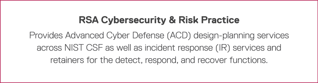 RSA Cybersecurity & Risk Practice Provides Advanced Cyber Defense (ACD) design-planning services across NIST CSF as w
