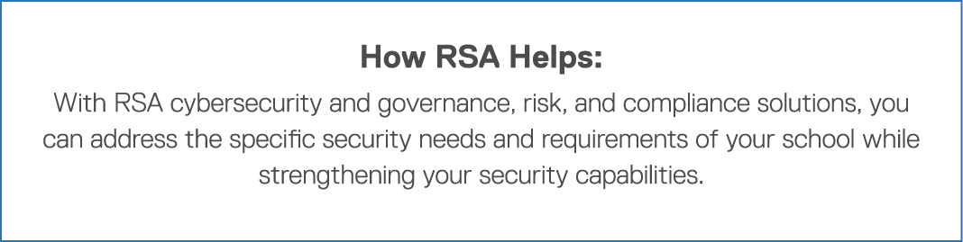 How RSA Helps: With RSA cybersecurity and governance, risk, and compliance solutions, you can address the specific se