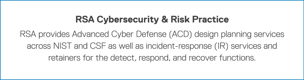 RSA Cybersecurity & Risk Practice RSA provides Advanced Cyber Defense (ACD) design planning services across NIST and