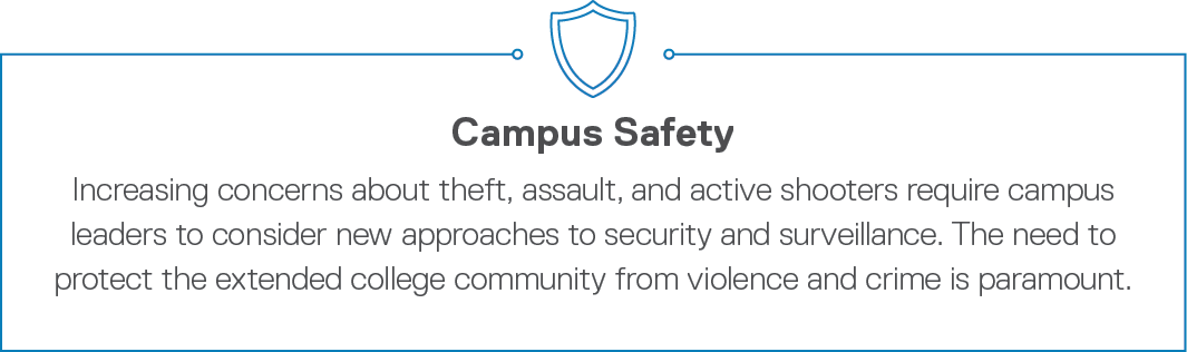 Campus Safety Increasing concerns about theft, assault, and active shooters require campus leaders to consider new ap